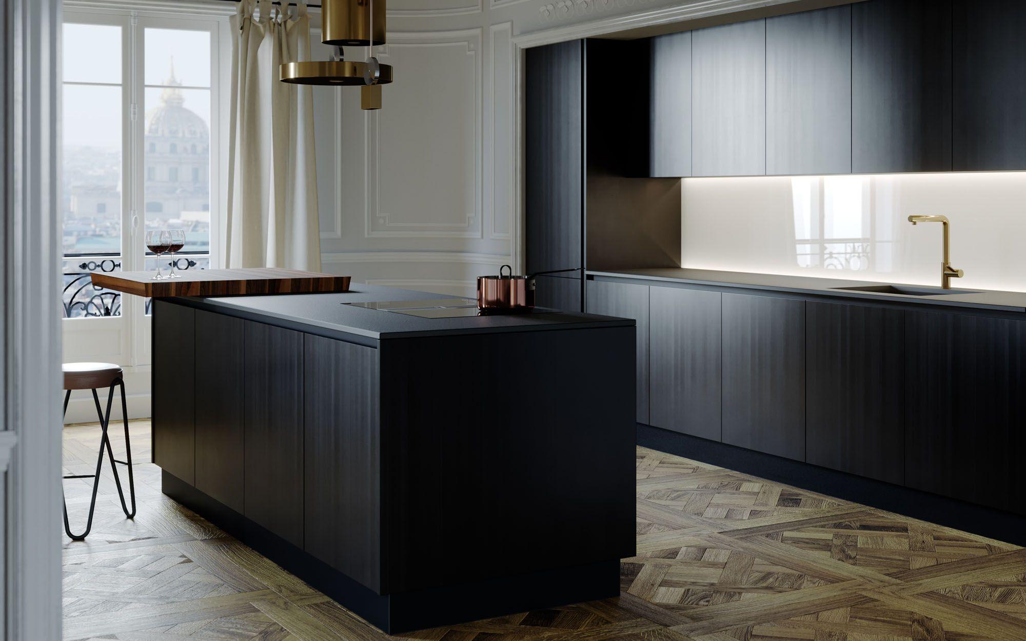 La cucina Essence Lux di Aurora Cucine - pennellato nero effetto ...