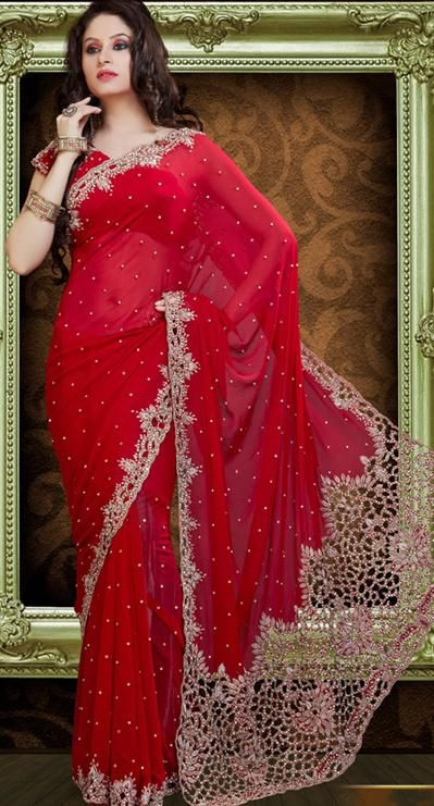2b7ee5d862 Red Cut and Stone Work Faux Georgette Bridal Saree 23382 | Bridal ...