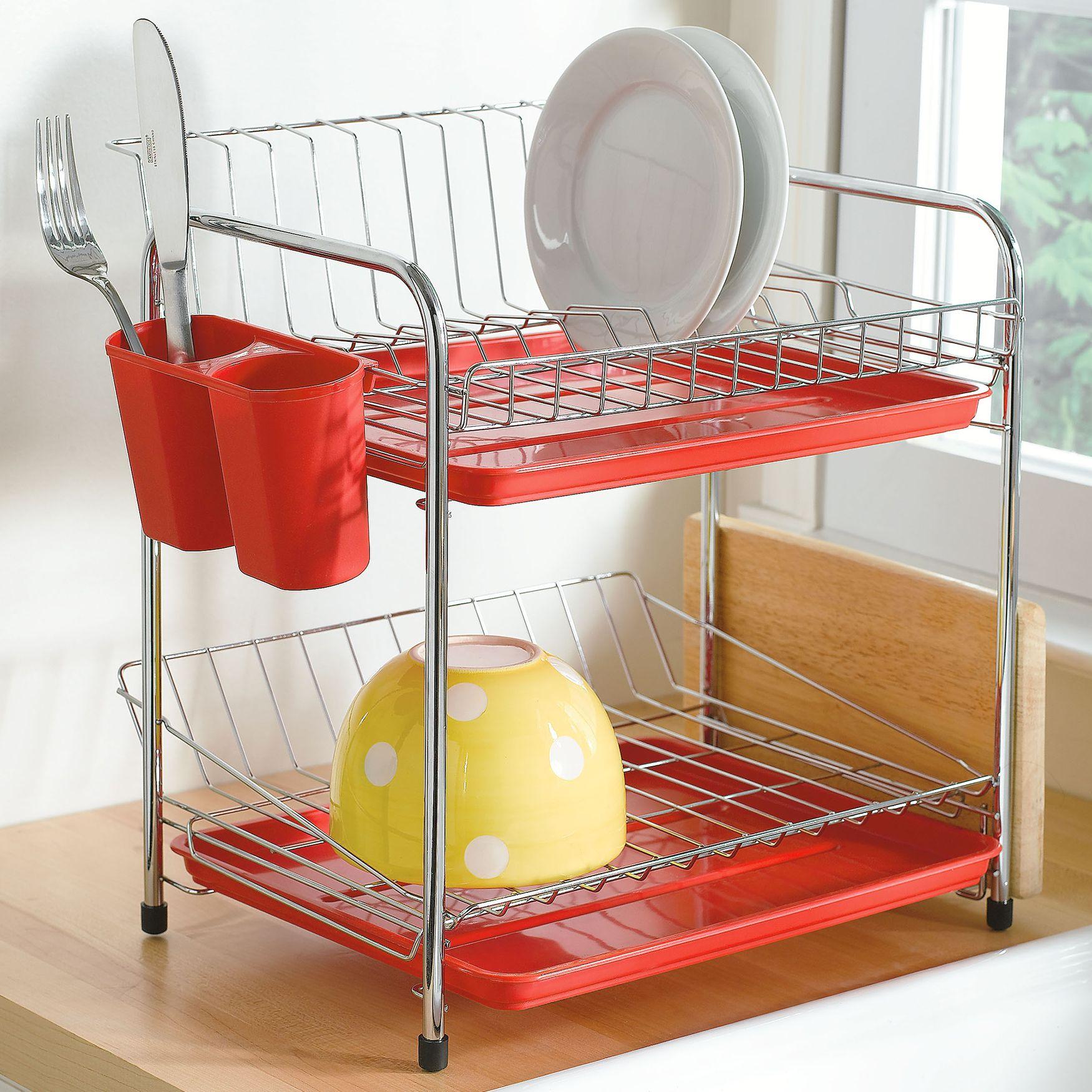Compact Space Saving 2 Tier Dish Drying Rack 187 H O M E