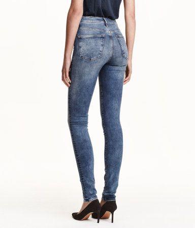 H/&M Womens Skinny High Ankle Jeans Washed Stretch Denim High Waist Ultra Slim
