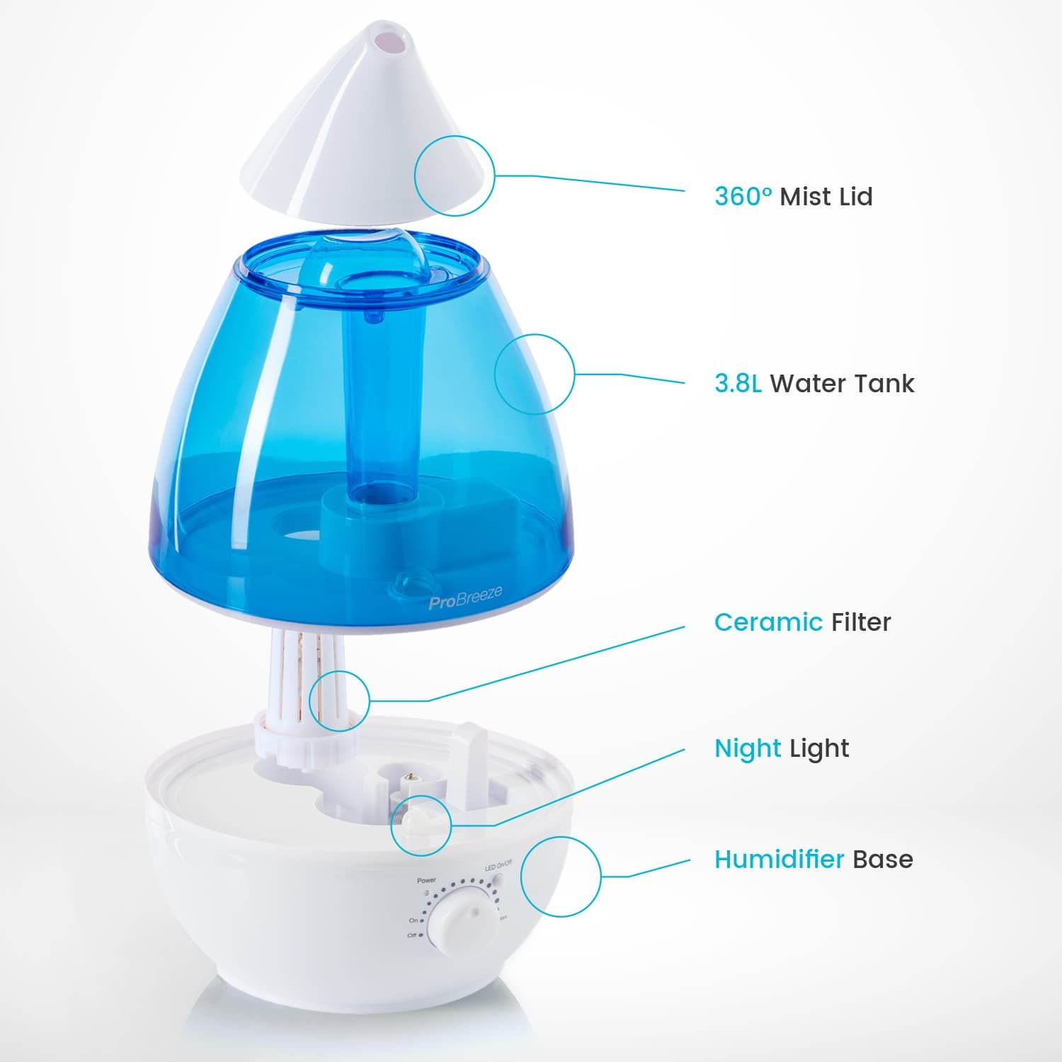 3.8 Litre Ultrasonic Humidifier | For Dry Air | Pro Breeze