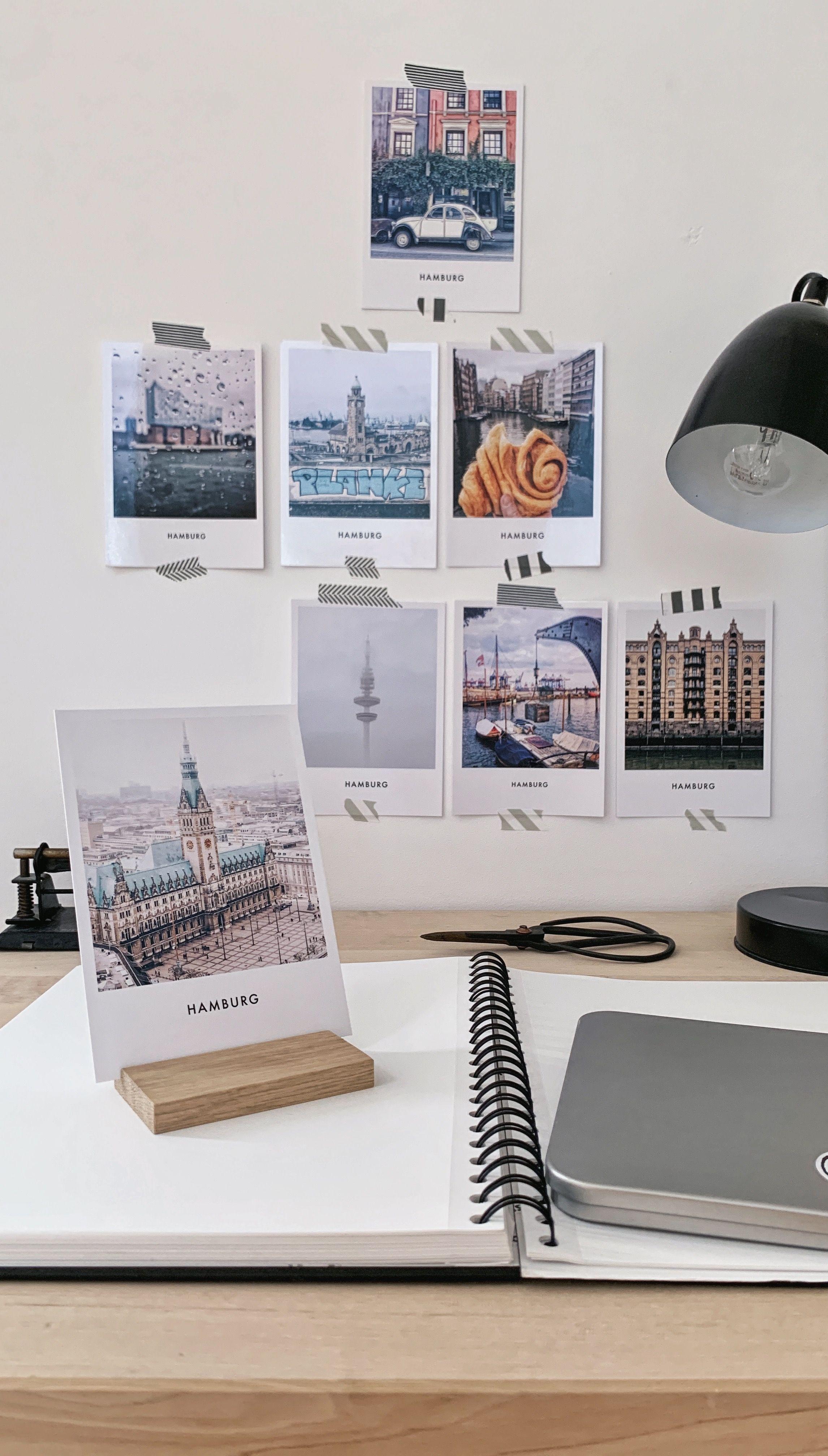 Hamburg Postkarten Mit Halter Aus Eiche Hamburg Rathaus