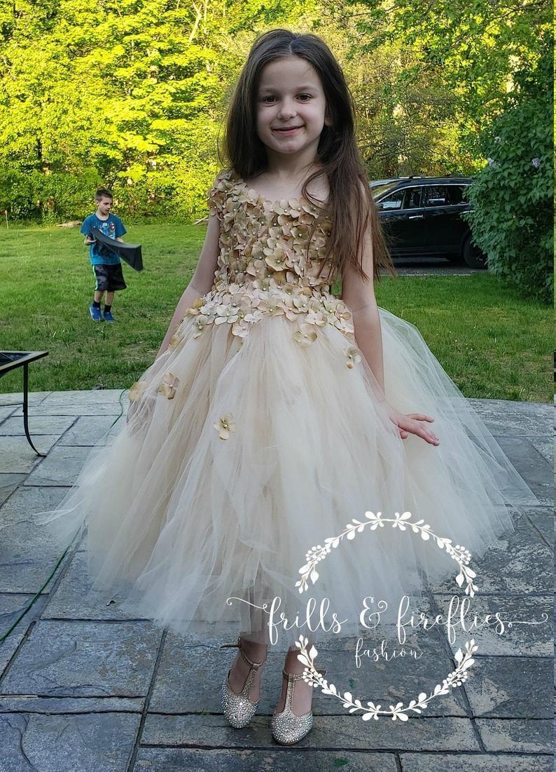 Champagne flower girl dress bridesmaid dress prom