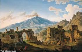 FABRIS Pietro,Veduta del Teatro greco di Taormina con il vulcano Etna,Farsettiarte,