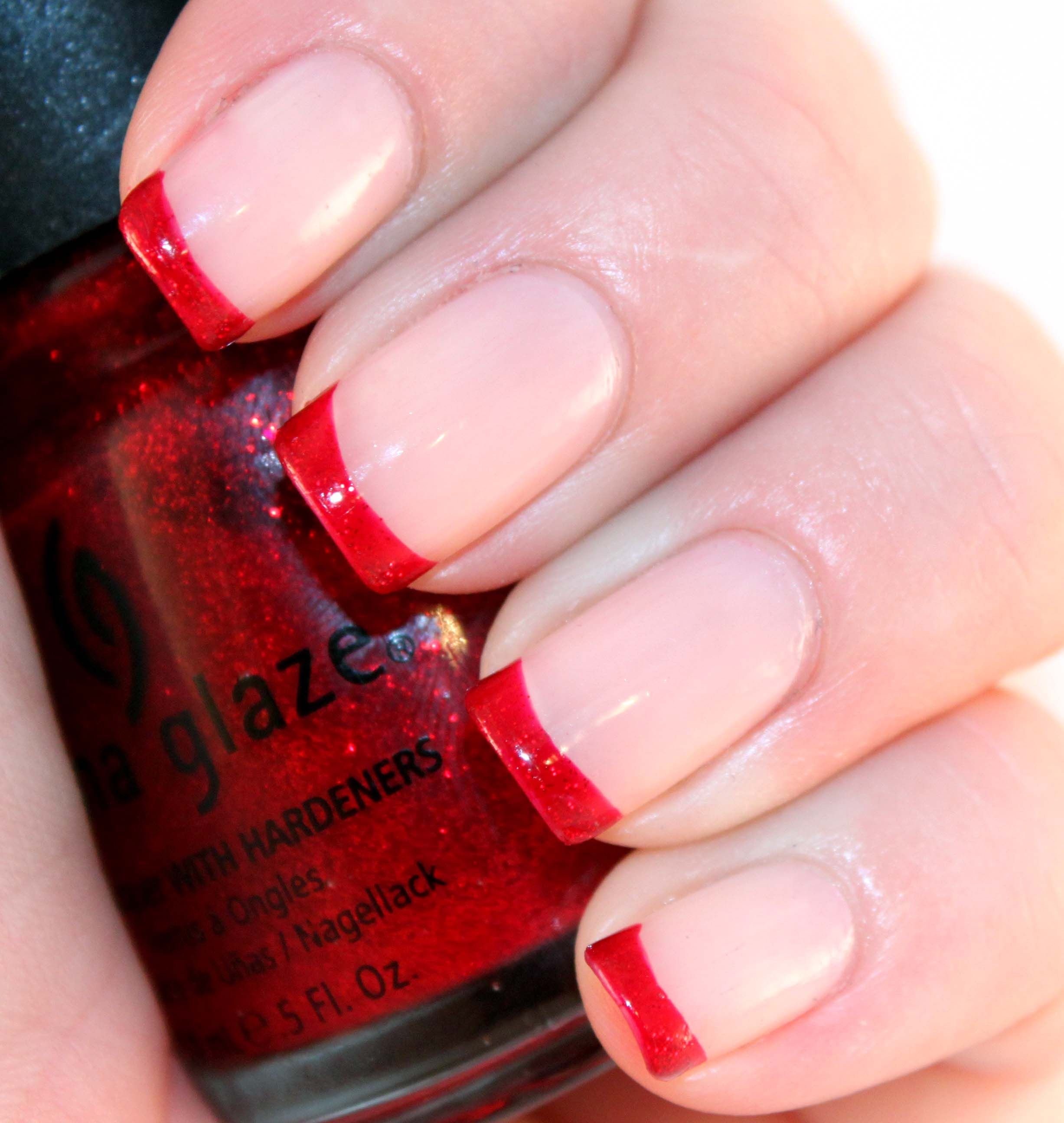 French Manicure Red Tip - Google Search