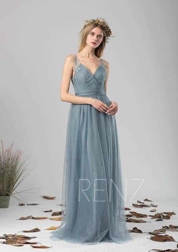 6261c653d1c Bridesmaid Dress Dusty Blue Tulle Dress Wedding DressV Neck