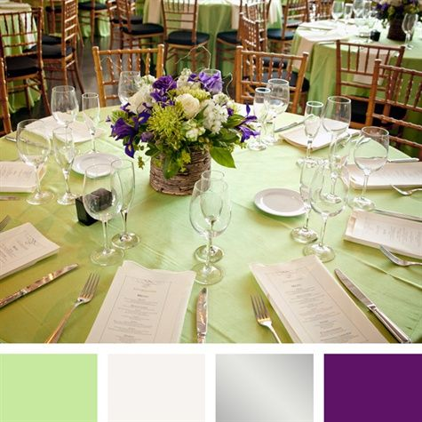 Mint Green Silver And Purple Color Palette Purple Centerpieces