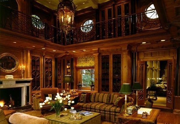 A wood paneled office den of approximately 17 x 14 feet features built in bookcases and views - Wood panel walls decorating ideas ...