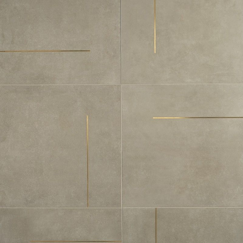 Lines Brass Inlay Greige 24x24 Matte Porcelain Tile In