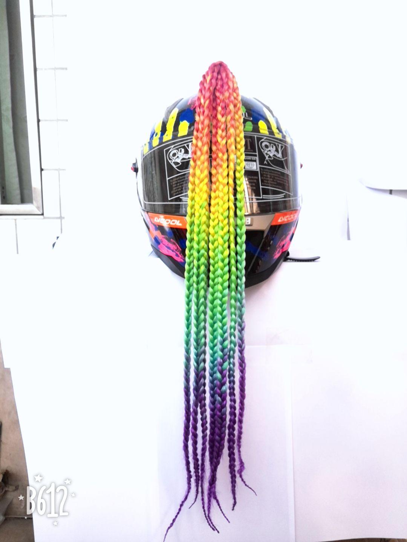 Ponytail Helmet Hair Pigtails For Motorcycle Bike Gradient Ramp Helmet Braids