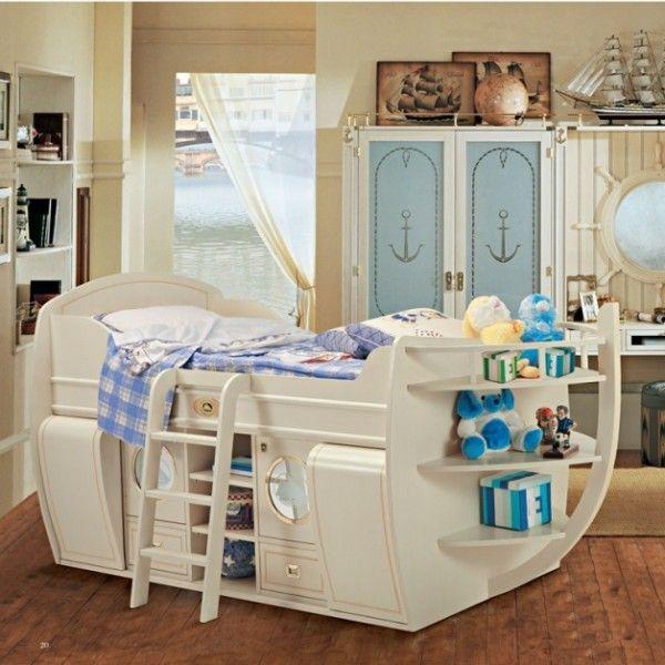 Jungenzimmer kinderbett hochbett schiff form holz stauraum for Jungen zimmer