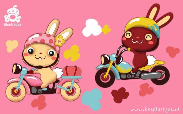 Funny Bunny Bikers by Miriam Bos | Dutch illustrator, via Flickr