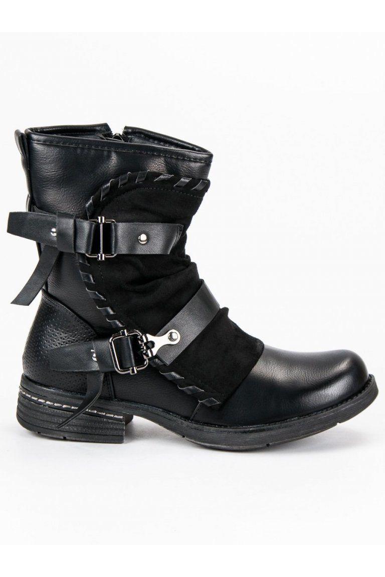 1b6b60b55 Rockové topánky vysoké čierne workery Queentina BH98-KB-B | Čižmy ...