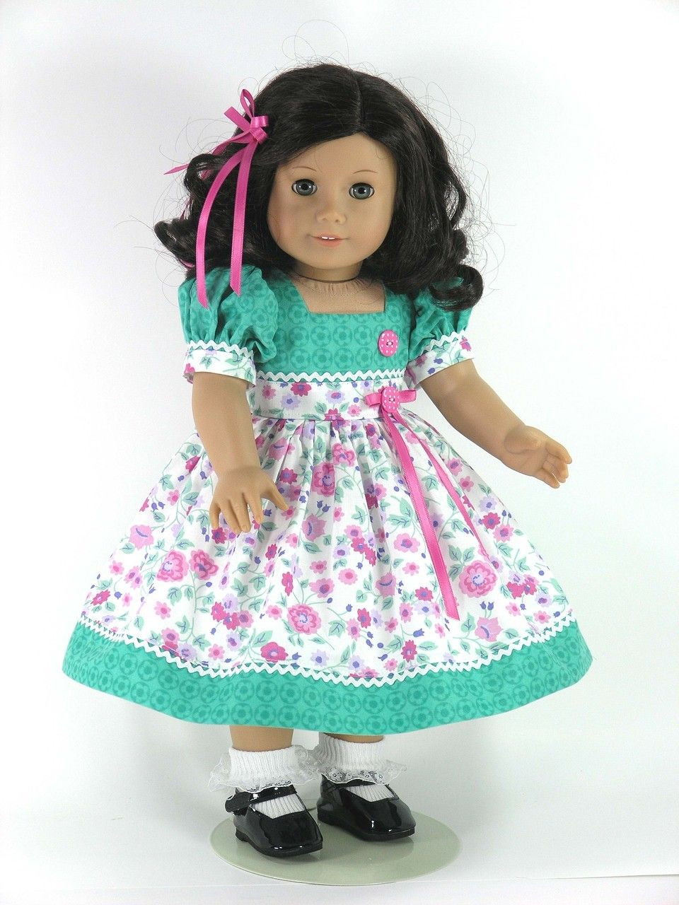 Handmade American Girl Doll Dress - Green, Rose Pink Floral ...