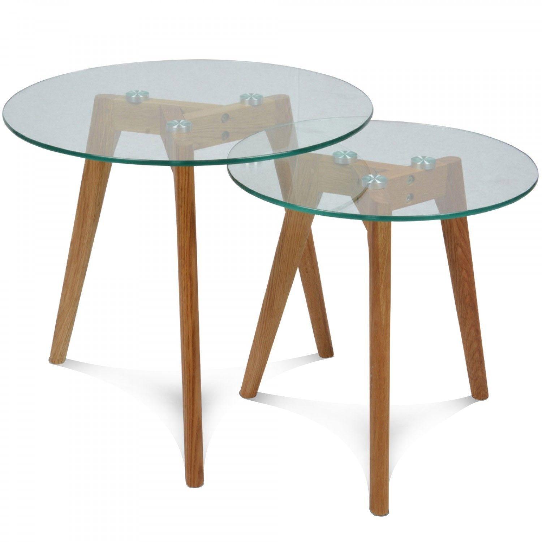 set de 2 tables basses en verre gigognes rondes scandinave fiord d40 et - Set De Table Scandinave