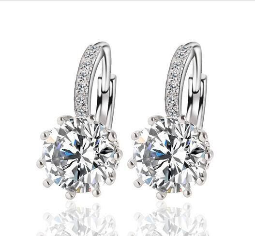 Fashion Alloy Silver-Plated Geometry Crystal Earring Simple Jewelry Design Round Zirconia Earrings Statement For Women!E258