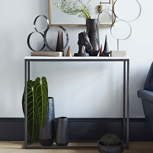 Box Frame Narrow Side Table Marble Antique Bronze Narrow Side Table Glass Side Tables Modern Console Tables