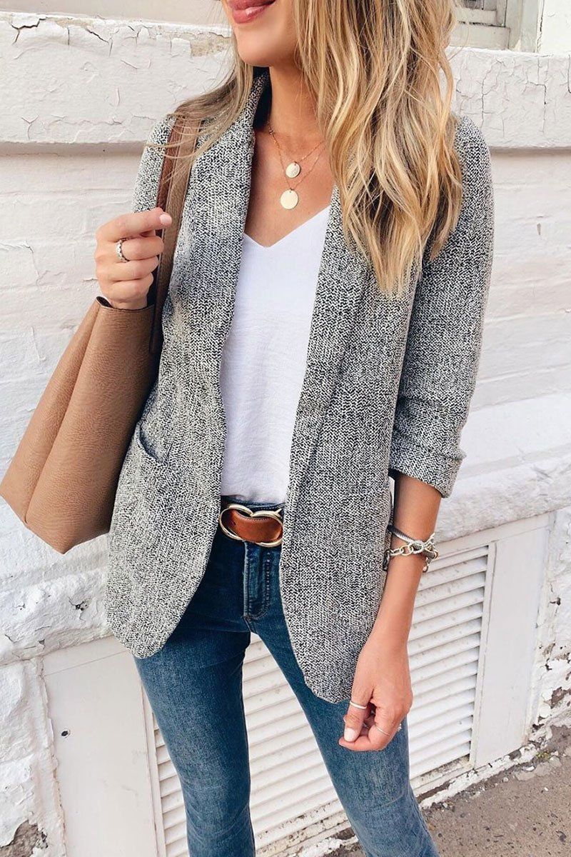 Photo of Pericoat Lässige Solid Pocket Straight Blazer #businesscasualoutfits Diese Blazer …