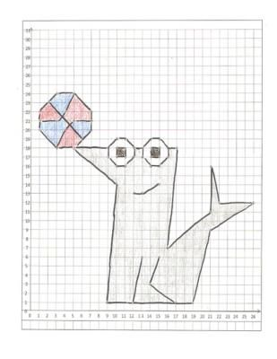 3) Coordinate Graphing Pictures a Seal, a Whale, and a Dolphin - cartesian graph paper