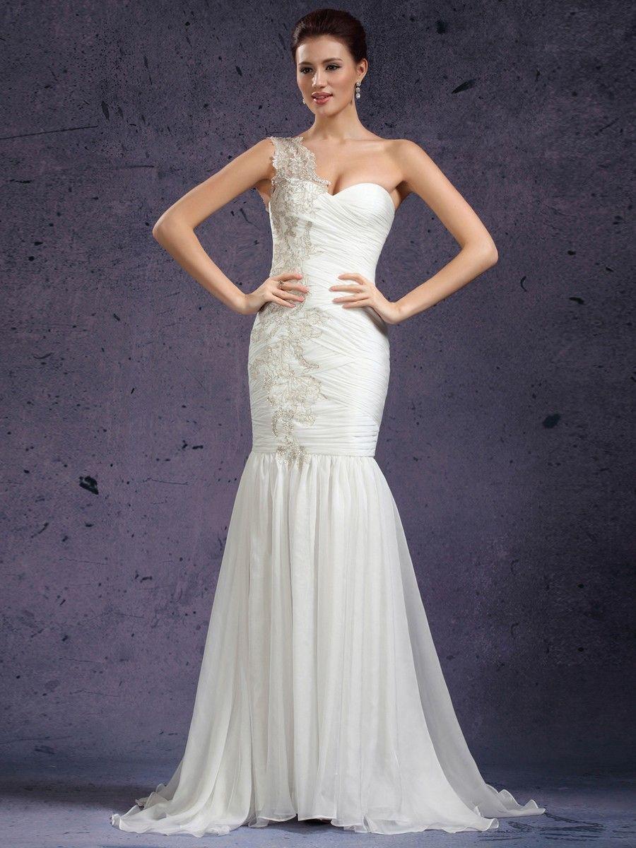One strap wedding dress  Chiffon One Shoulder Appliques Mermaid Beach Wedding Dress at