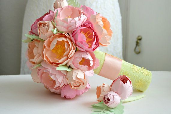 Paper flower bouquet bridal wedding bouquet pink peony bouquet 1. paper anniversary flowers .(FE249876)