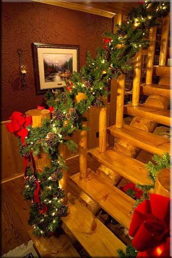 lodgepole by pineridge 3607507875 christmas stairs - Log Cabin Christmas Decorations