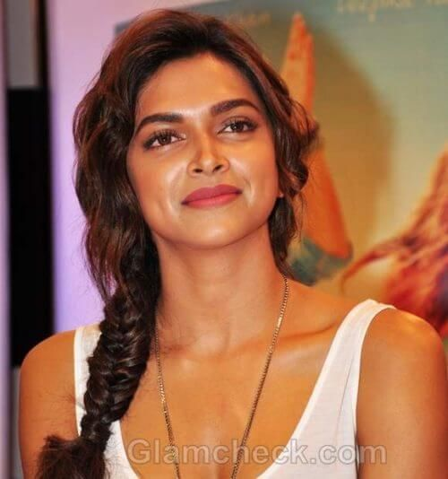 Deepika Padukone With A Fishtail Braid Hairstyle Indian Hairstyle