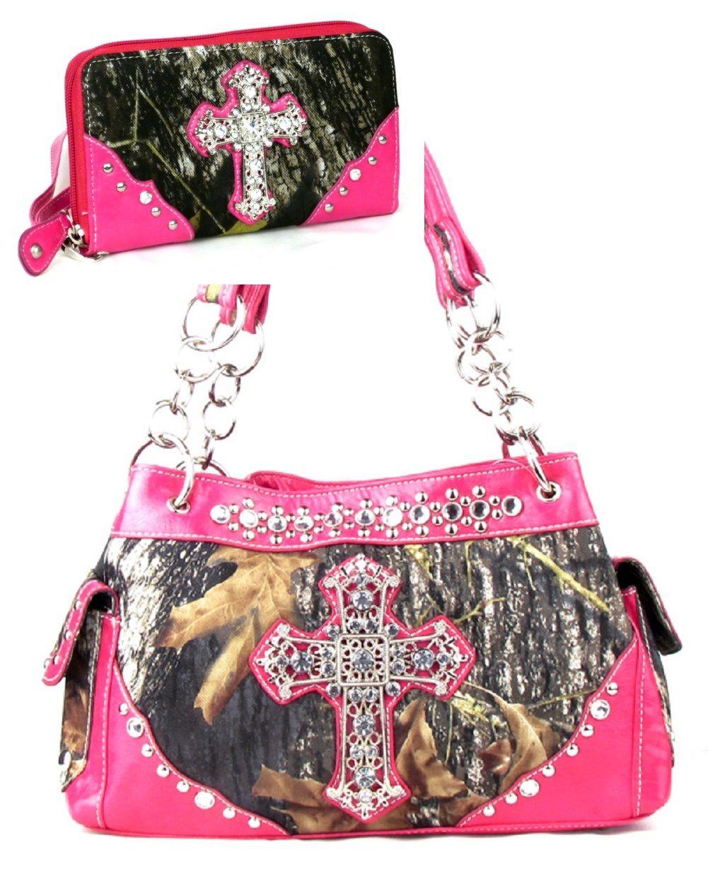Pink Camo Fashion Cross Purse With Rhinestones W Matching Wallet ...