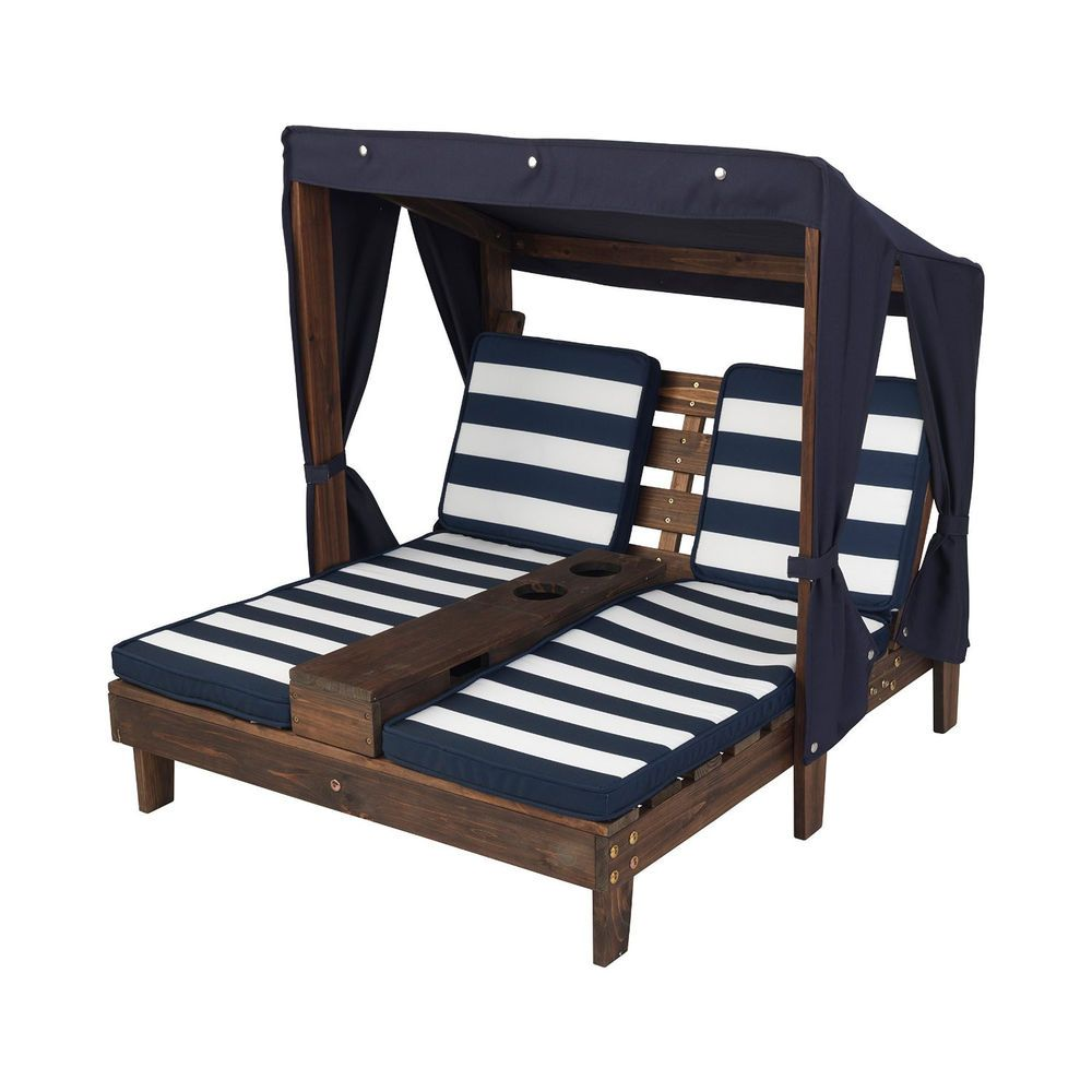 Kids double chaise outdoor patio lounge chair pool garden deck