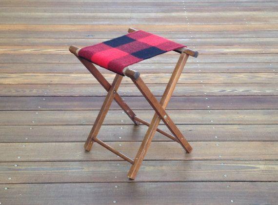 Vintage Camp Stool Pendleton Wool Seat Plaid Cabin