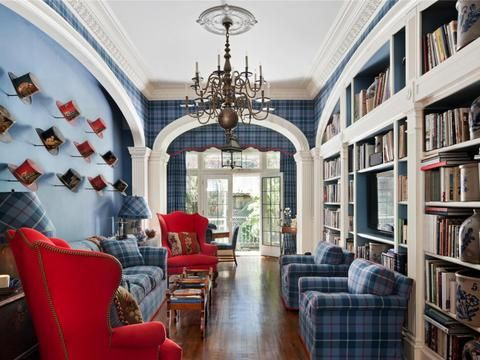 We love the plaid elements with pops of red! Manhattan, NY | Douglas Elliman elliman.com