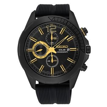 Solar Recraft Black Dial Date Display Chron0graph Black Ion Finish With Gold Highlights Black Silicone Band Seiko Watch