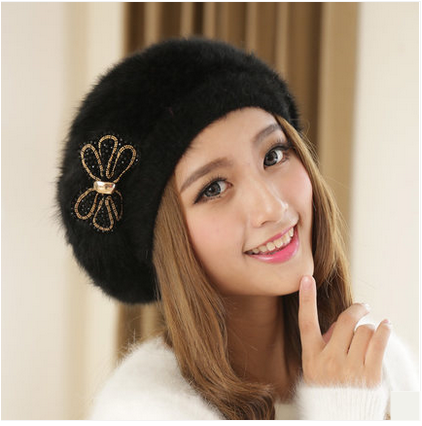 bow beret hat for women rabbit fur warm winter hats  587410dcec6
