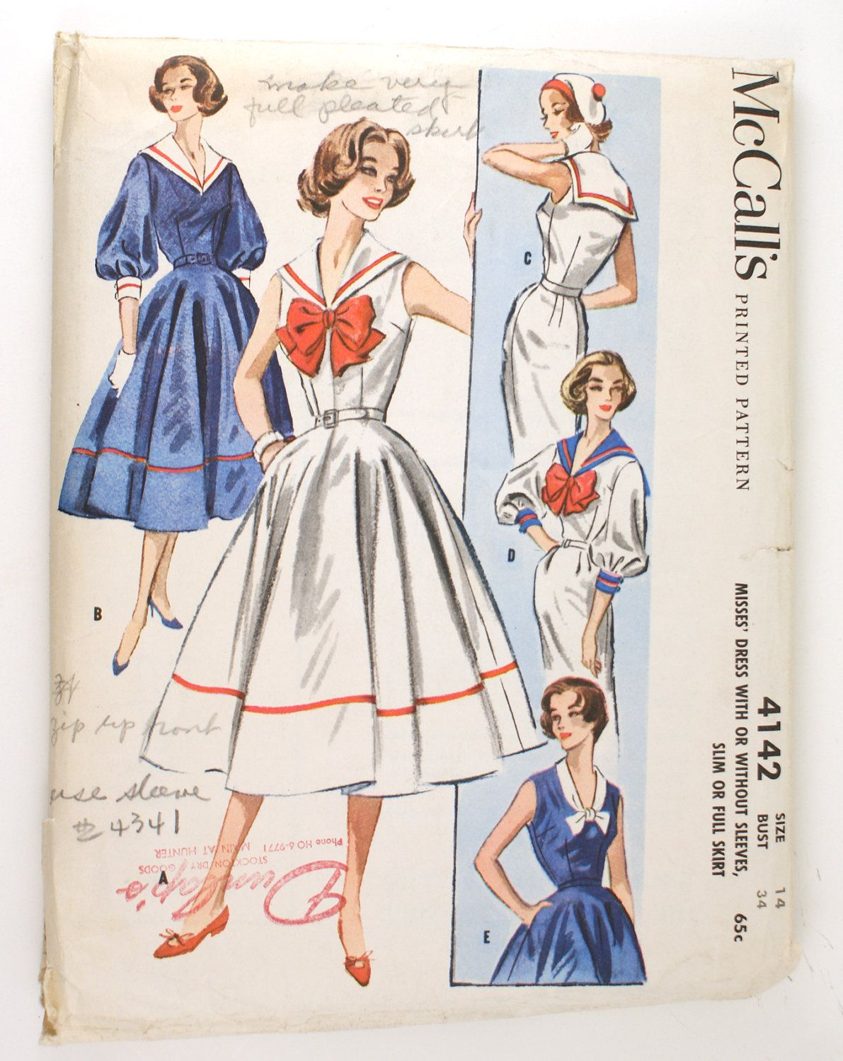 McCall\'s 4142 Misses 1950s Sailor Dress Pattern Bust 34 Nautical ...
