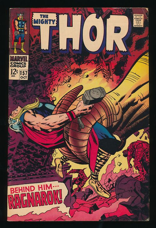 Thor #157 Marvel Comics art by Jack Kirby ~ great cover, epic story. Probably read my copy a thousand times when I was a kid.
