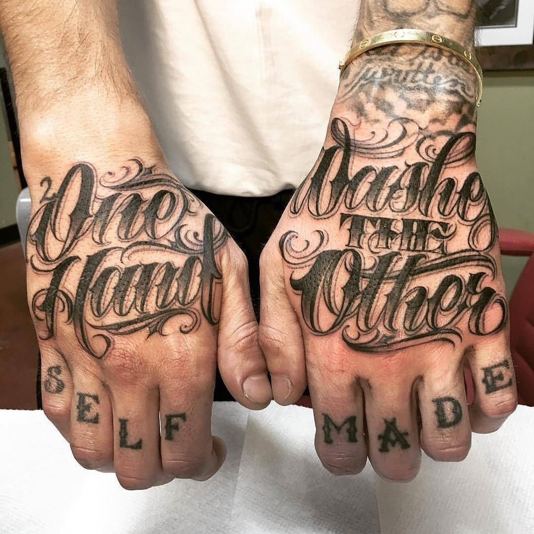 One Hand Washes The Other By Orks Tattoos At Utgink In Los Angeles California Handtattoos Scripttat Tattoo Lettering Knuckle Tattoos Hand Tattoos For Guys