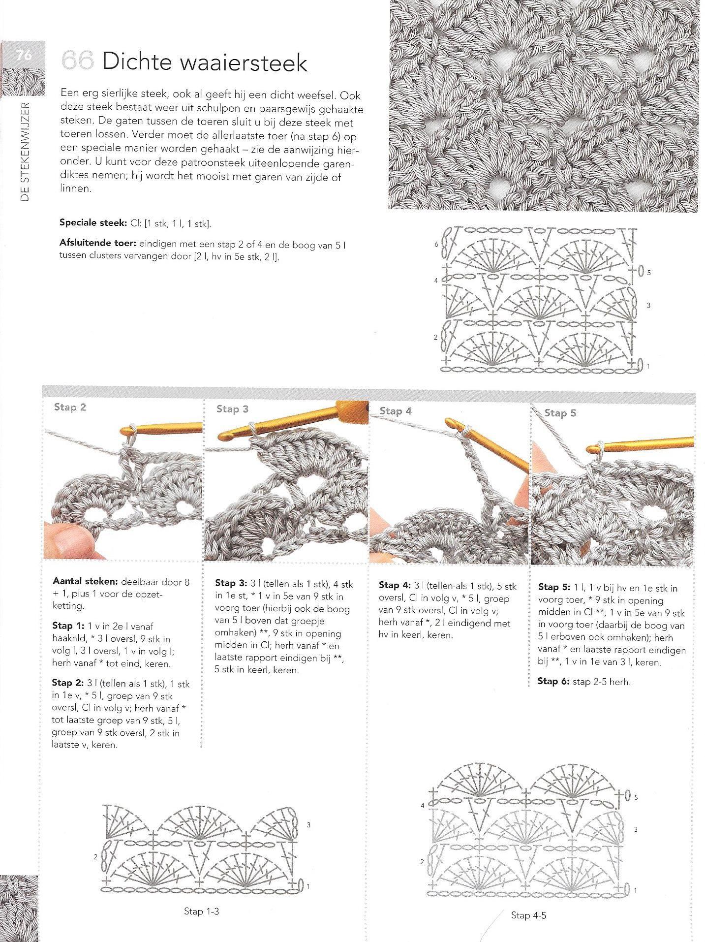 Dichte Waaiersteek Haakbijbel Haaksteken Haken Crochet Stitches