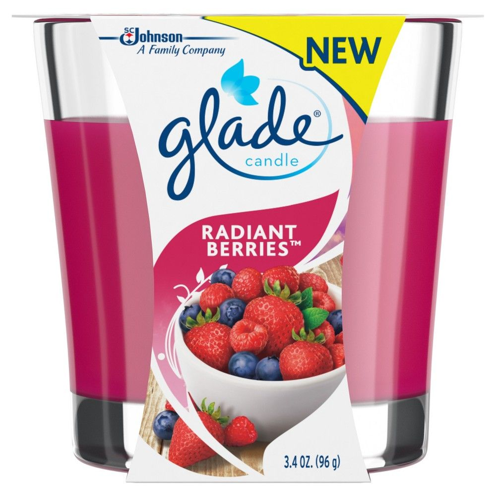 Glass Candle Radiant Berries 3.4oz Glade, Poppy Pink
