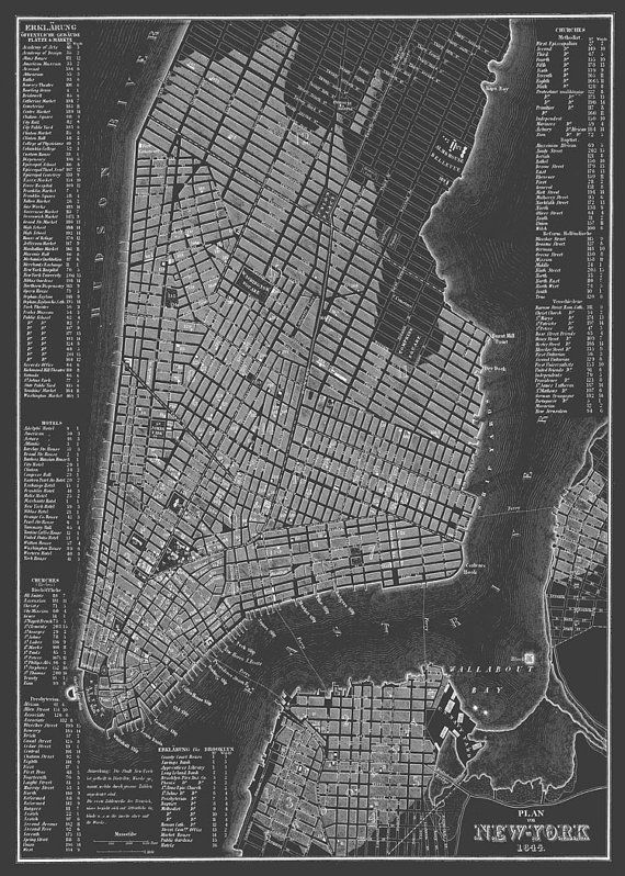 1844 New York City Manhattan Street Map Dark Gray By Themapshop
