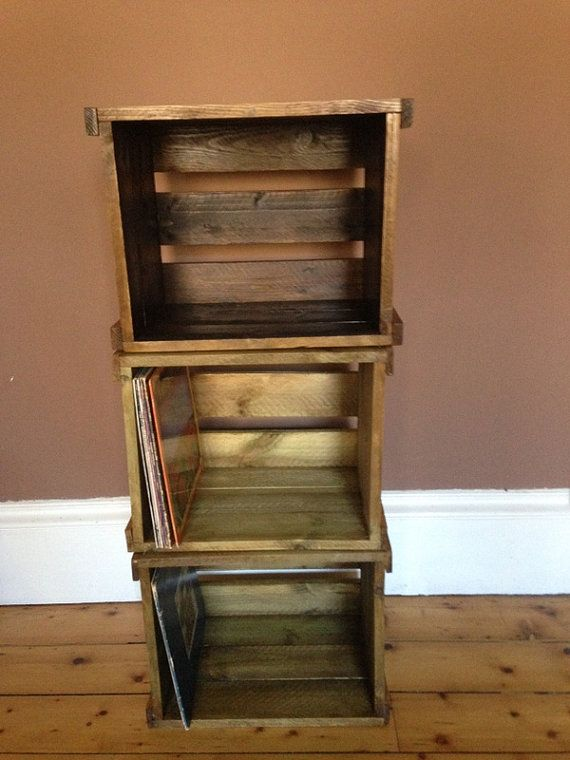 Vinyl Recordlp Stackable Wooden Crate For Great Looking Storage And