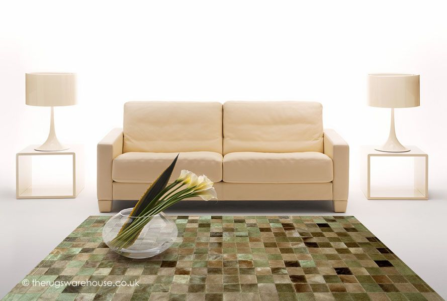 Chantilly Verdi Rug, a luxurious patchwork style cowhide leather rug in shades of green, beige & brown (available in 6 set & also custom sizes, handmade in Spain) http://www.therugswarehouse.co.uk/modern-rugs3/girona-rugs/chantilly-verdi-rug.html #rugs #luxury