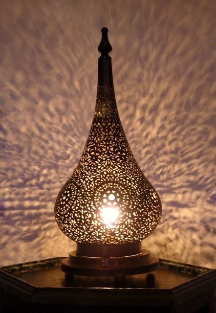 Captivating Moroccan Brass Table Light, Table Lamp Delicately Chiselled Patterns.  Moroccan Interior