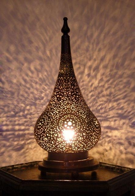 Artisanat Marocain Lampe Ambiance En Laiton Ajoure Light Show