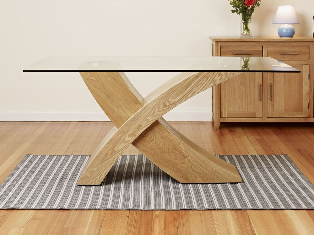 Glass Top W Oak Cross Base Dining Table Room Furniture 160cm
