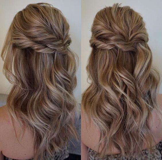 Simple Half Up Half Down Bun Thick Hair Styles Medium Length Hair Styles Medium Hair Styles