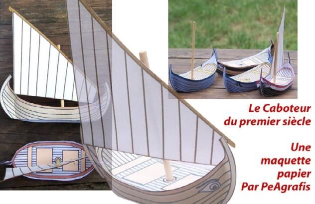 Ancient Sailboat Paper Model - by Paul - via Le Forum En Papier - == -  A nice little Ancient Sailboat paper model created by French designer and modeler Paul and originally posted at Le forum En Papier. Perfect for Dioramas. RPG and Wargames.