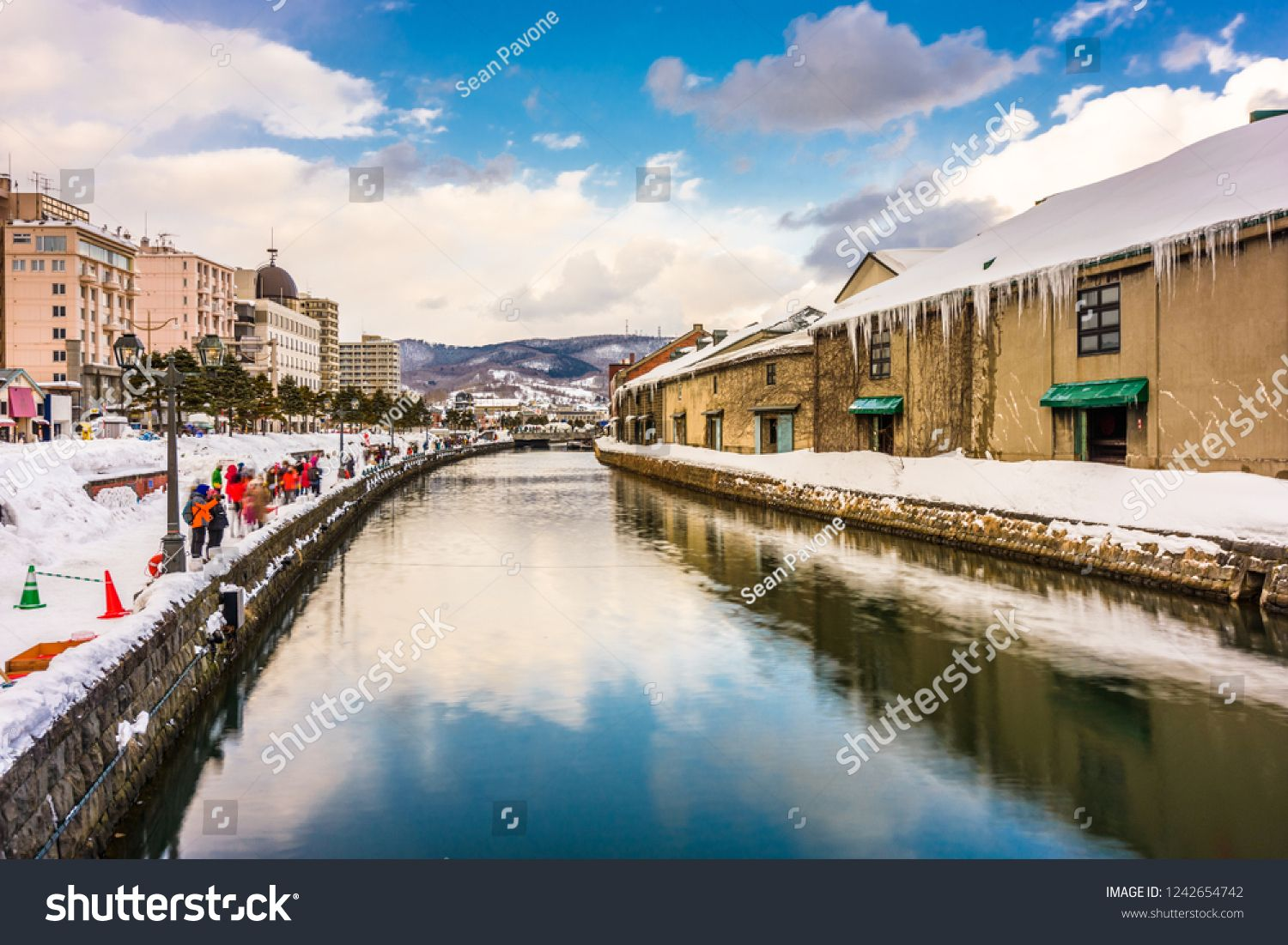 Otaru, Japan winter skyline on the canals. #Sponsored , #Sponsored, #Japan#Otaru#winter#canals