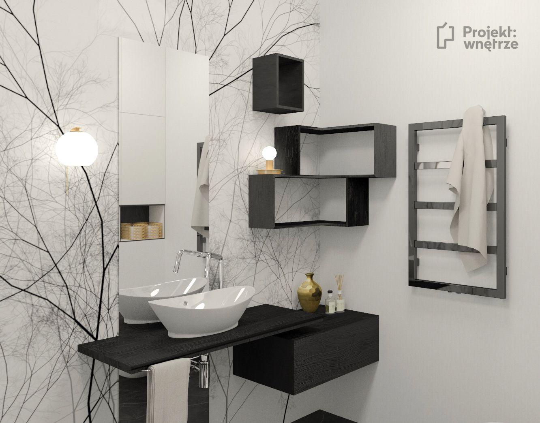 Mała łazienka Z Wzorzystą Tapetą Glamora Biało Czarna We