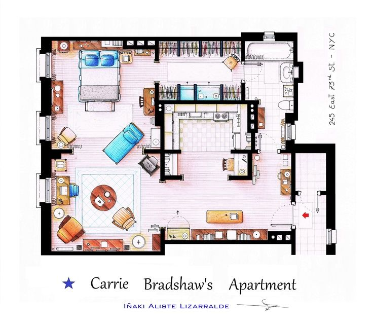 Floorplans Of Famous TV Shows Carrie, Carrie bradshaw and TVs