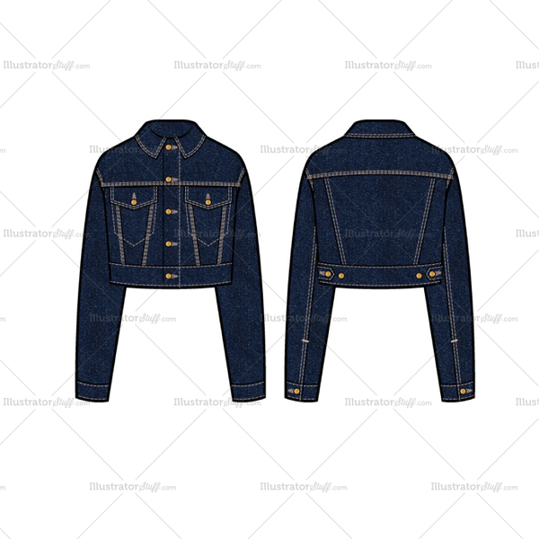 Women S Cropped Denim Trucker Jacket Flat Template